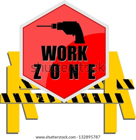 Work zone signs set - stock vector
