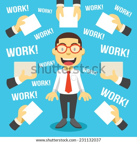 Workaholic. Creative vector flat illustration. Cute mascot concept. Trendy style graphic design elements. - stock vector