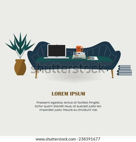 Workaholic - Working at home, modern flat design elements, cozy blue couch, laptop, stacked books, pens and pencil, paper, workaholic mug, and a potted plant - stock vector