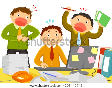 worker being stressed out by noisy colleagues and too much work - stock vector