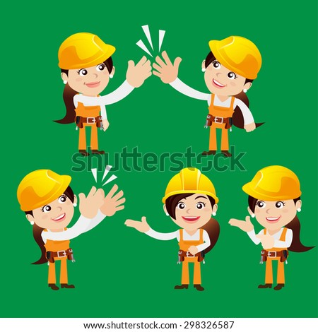 Worker characters in different poses - stock vector