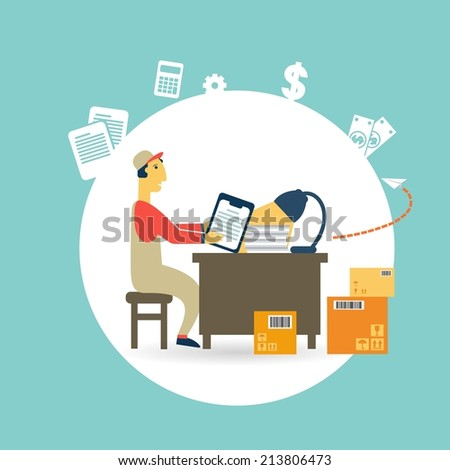 worker checks the boxes illustration - stock vector