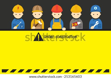 Worker, Craftsman with Under Construction Sign - stock vector
