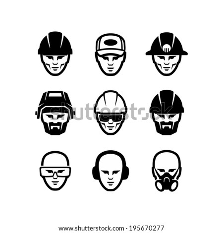 Worker face - stock vector