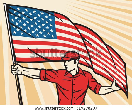 Worker holding a USA flag (United States of America flag poster design)  - stock vector