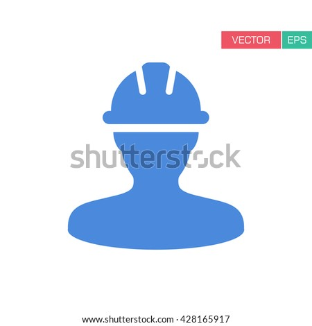 Worker Icon - Construction, Builder, Contractor User Icon in Flat Color Vector Illustration). - stock vector