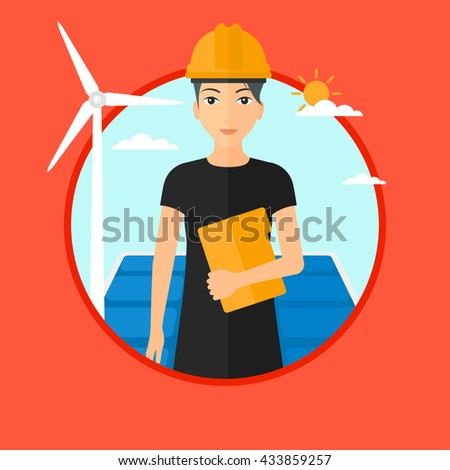 Worker of solar power plant and wind farm. Woman with folder on background of solar panel and wind turbine. Green energy concept. Vector flat design illustration in the circle isolated on background. - stock vector
