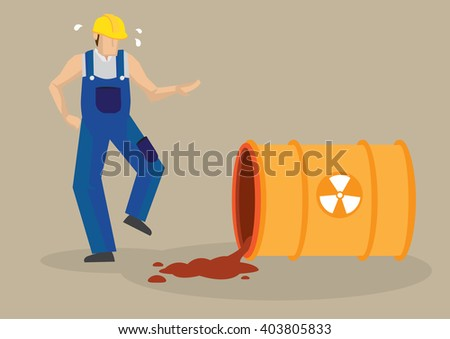 Worker panicking beside a spilling barrel with radioactive symbol sign. Vector cartoon illustration on radioactive spill industrial workplace accident concept isolated on plain background. - stock vector