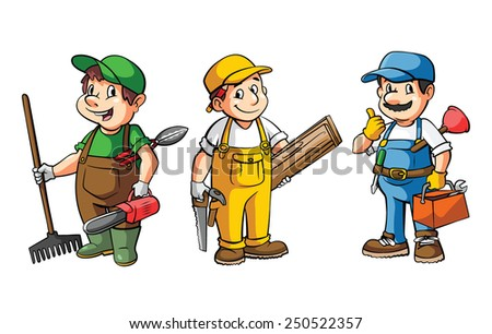 Worker Set : Gardener,Carpenter And Plumber - stock vector
