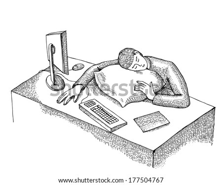 Worker sleeps on the working place - stock vector