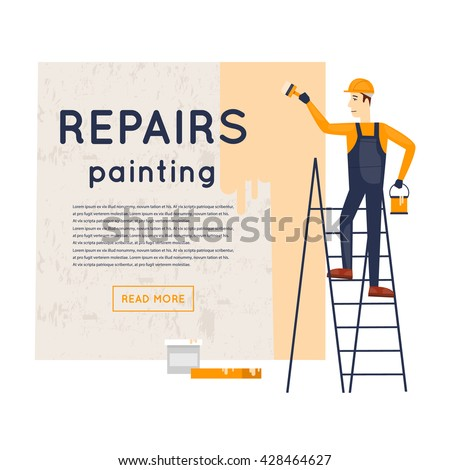 Worker standing on stairs with brush and painting the wall. Repair, construction. Character. Flat style vector illustration. - stock vector