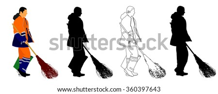 Worker sweeping with besom, man with brush and rake collects leaves vector illustration isolated on white background. - stock vector