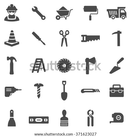 Worker tool black icons set.Vector - stock vector