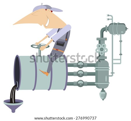 Worker turns off the valve and pours oil, fuel, benzine, diesel or gasoline from the barrel  - stock vector