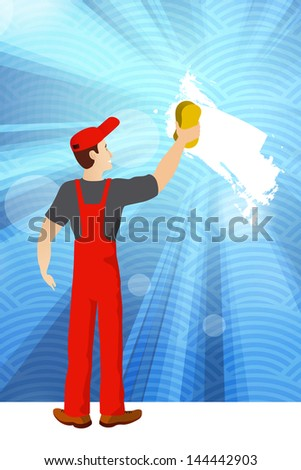 Worker washing wall - stock vector