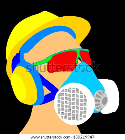worker with yellow helmet, gas mask and protect glasses vector isolated on black background - stock vector