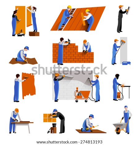Workers builder engineers and technician icons set isolated vector illustration - stock vector