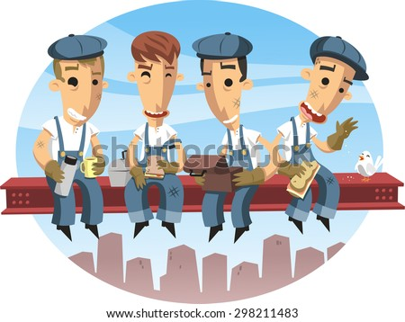 Workers lunching on a crossbeam vector cartoon illustration - stock vector