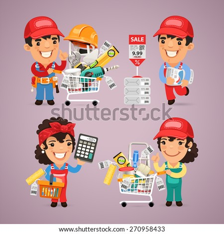 Workers Purchases Materials in DIY for Repair of Apartment. In the EPS file, each element is grouped separately. - stock vector