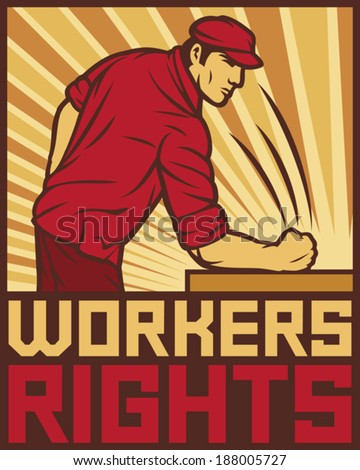 workers rights poster - fist hit of the table (workers rights design, poster for labor day) - stock vector