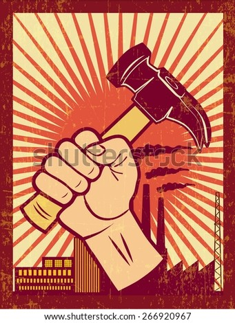 WORKERS RIGHTS poster illustration vector - stock vector
