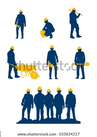 workers silhouette with yellow tools and helmet - stock vector