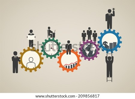 Workforce, team working, business people in motion, motivation for success, motivation of business people with icons. - stock vector