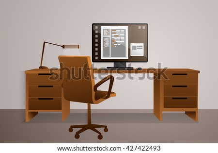 Working area. Office table with computer. Vector created illustration. Isolated objects.  - stock vector