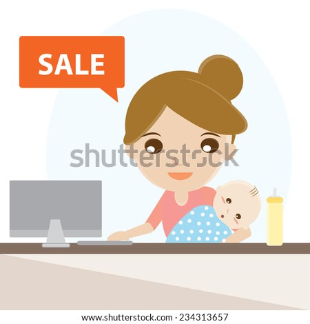Working at home, Mother and baby in front of computer.vector design illustration. - stock vector