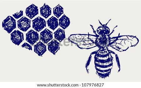 Working bee on honeycells - stock vector
