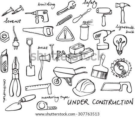 Working construction tools doodles collection - stock vector