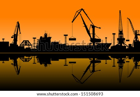 Working cranes in sea port for cargo industry design. Jpeg (rasterized) version also available in gallery - stock vector