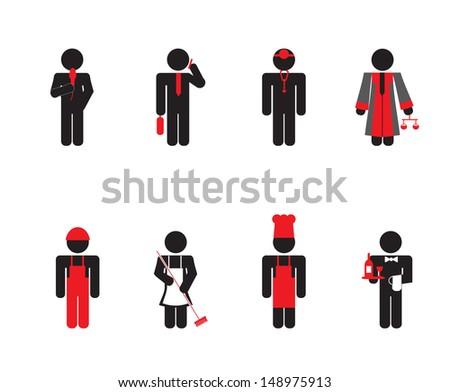 working people - icon set - stock vector