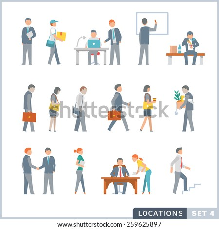 Working people. Office. Flat icons. - stock vector