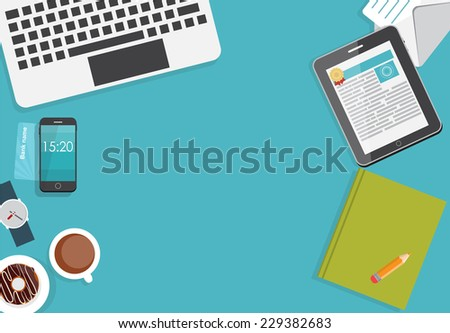 Working Place Modern Office Interior Flat Design Vector Illustration EPS10  - stock vector