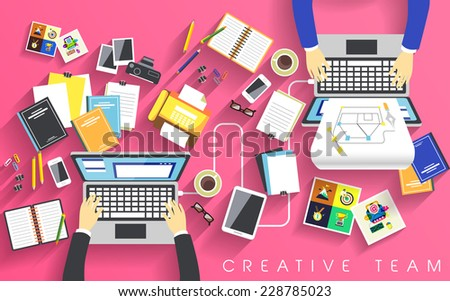 working place of creative team in flat design  - stock vector