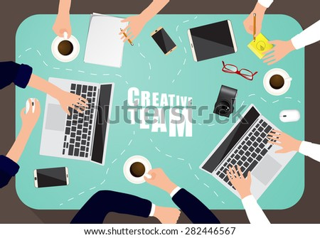 Working place of creative team in flat design. Vector illustration - stock vector