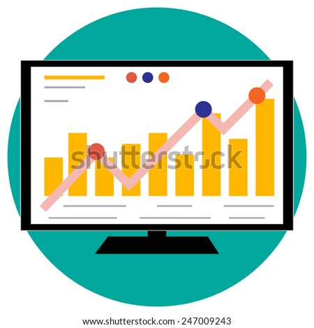 Working screen, trade on the stock exchange - stock vector
