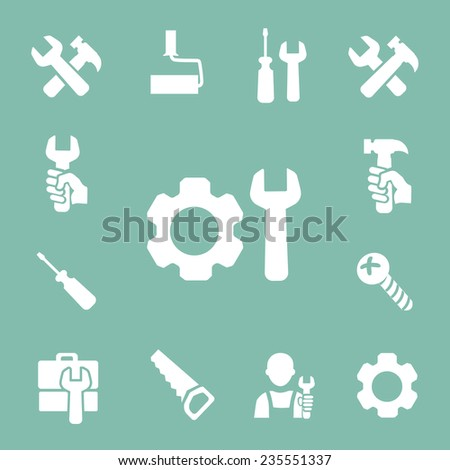 working tools isolated icons set of hammer  wrench screwdriver and measuring tape vector - stock vector