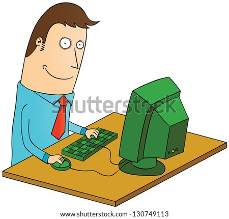 working with computer - stock vector