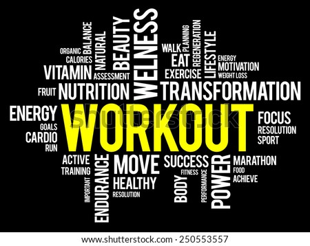 WORKOUT word cloud, fitness, health concept - stock vector