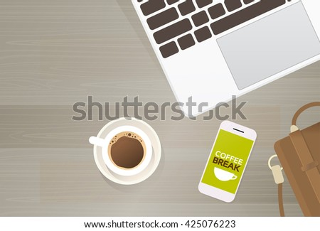 Workplace Desk Laptop Computer Cell Smart Phone Coffee Suitcase Top Angle View Copy Space Flat Vector Illustration - stock vector