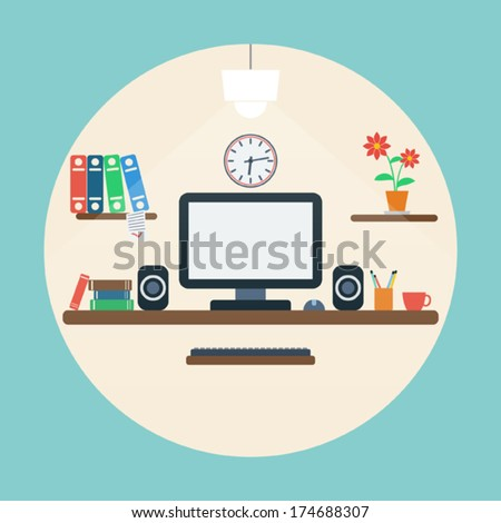 Workplace flat vector illustration - stock vector