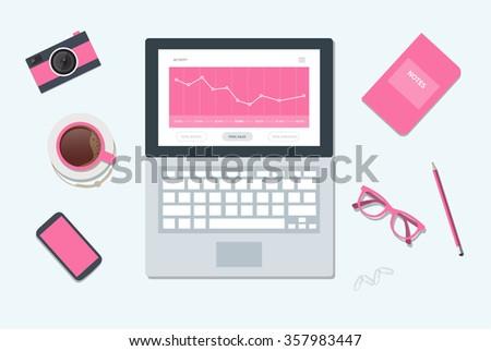 Workplace illustration. Desktop illustration. Isolated on background - stock vector