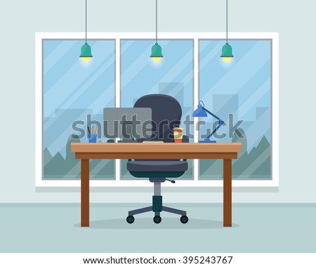 Workplace in office. Cabinet with workspace with table and computer with big window. Big boss office. Flat style vector illustration. - stock vector