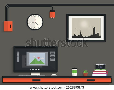 Workplace of photography, Modern design - stock vector