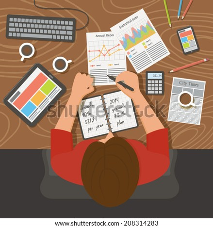 Workplace, office desk. Business woman working with documents, top view. Flat design illustration - stock vector