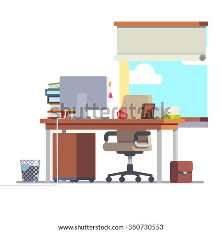 Workplace office desk with a computer, comfortable chair and a pedestal drawer. Flat style modern vector illustration. - stock vector