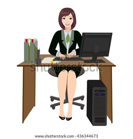 Workplace woman in the office. Computer desk and phone. A woman working at the computer. - stock vector