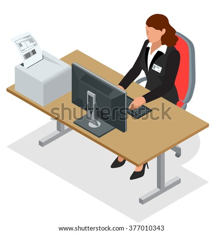 Workplace. Working on computer. Successful business woman looking at the laptop screen. Business woman at work. Flat 3d vector isometric illustration - stock vector